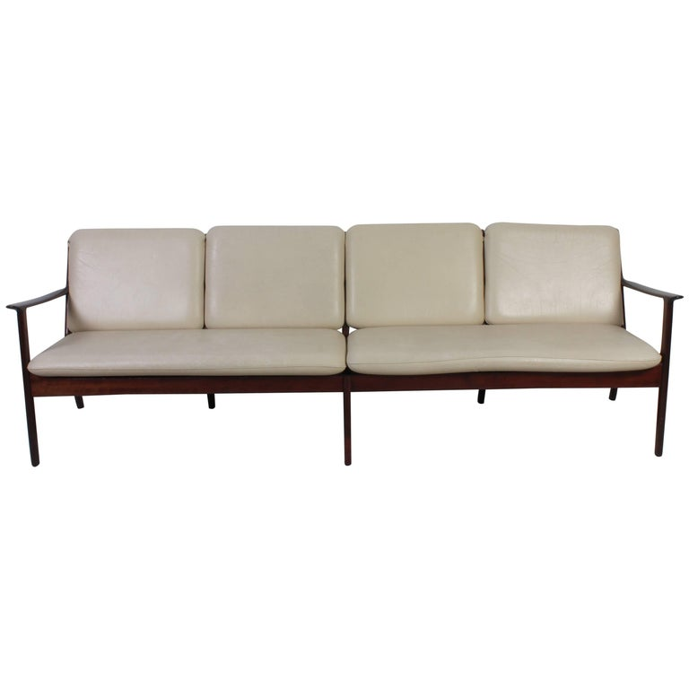 Ole Wanscher Mahogany PJ112 Four-Seat Sofa and Lounge Chair for Poul Jeppesen