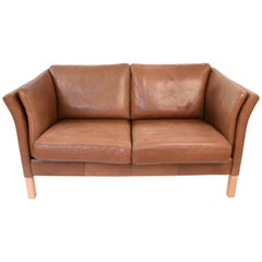 Mogens Hansen Danish Midcentury Leather Loveseat