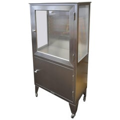 Storage / Medical Cabinet of Glass and Stainless on Wheels, Midcentury