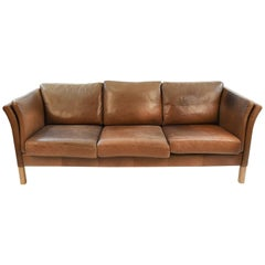 Mogens Hansen Danish Midcentury Three-Seat Leather Sofa