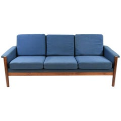 Danish Midcentury Blue Cotton and Rosewood Sofa