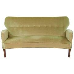 Danish Midcentury Velour Sofa