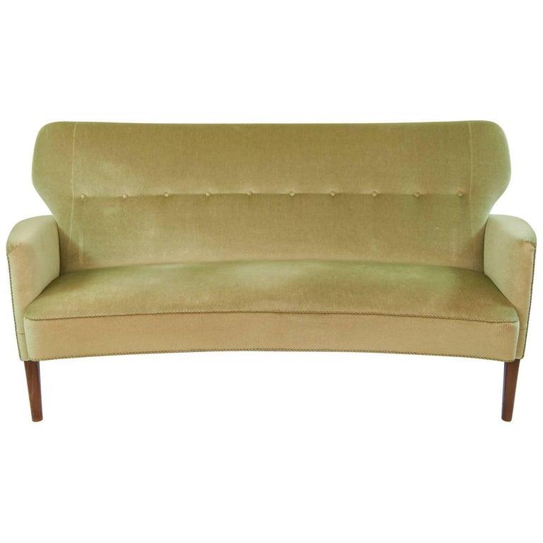 Danish Midcentury Velour Sofa For