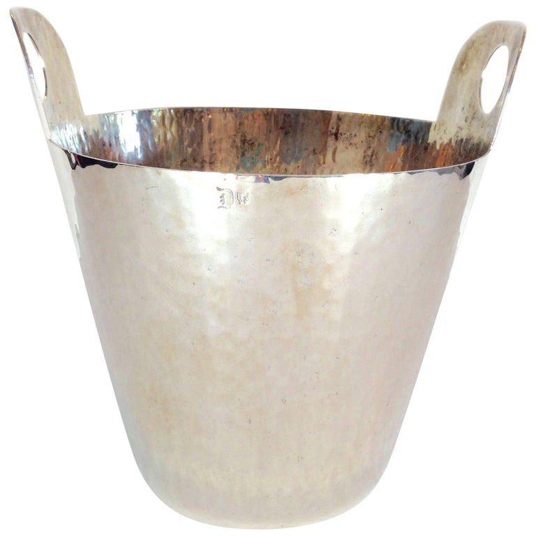 Vintage Italian Hammered Silver Plate Champagne Bucket For Sale
