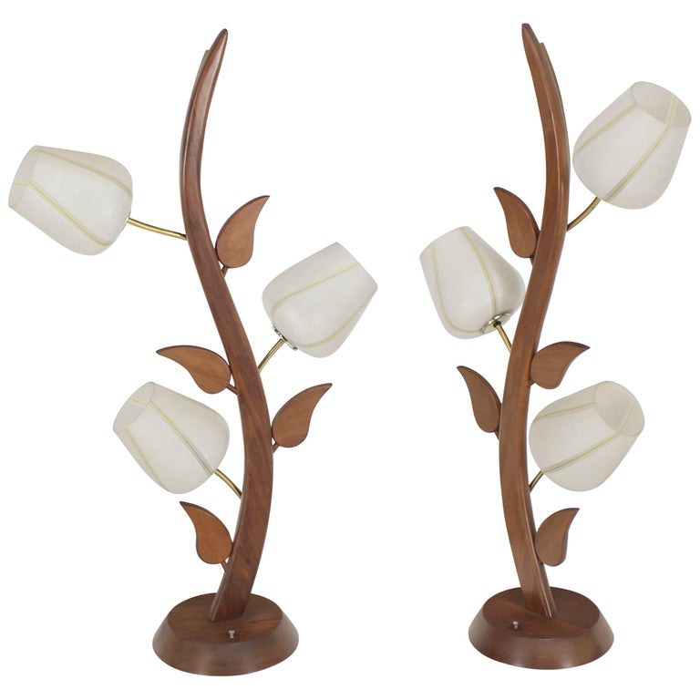 Pair of Sculptural Walnut Frosted Glass Table Lamps Mid-Century Modern