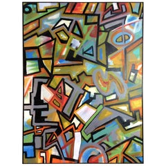 Large Original Acrylic Painting on Canvas, Abstract Geometric Cubist