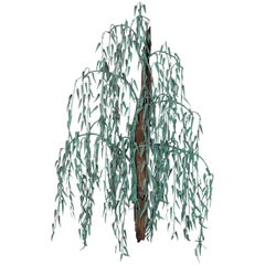 1970s Patinated Copper and Driftwood Willow Tree Wall Sculpture