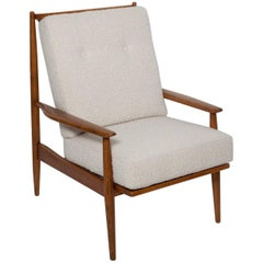 Fully Restored 1950s Danish Walnut Lounge Chair in Angora Boucle