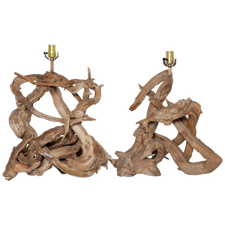 Pair of 1950s Driftwood Table Lamps For Sale