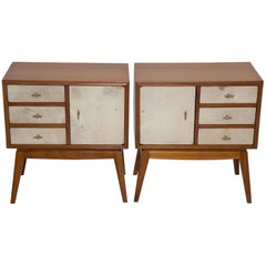 French Teak and Parchment Nightstands, circa 1950