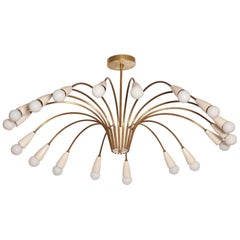 Large 18-Light 1950s Italian Brass Spider Chandelier in the Manner of Stilnovo