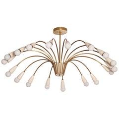 Large 18-Light 1950s Italian Brass Spider Chandelier in the Manner of Stilnovo