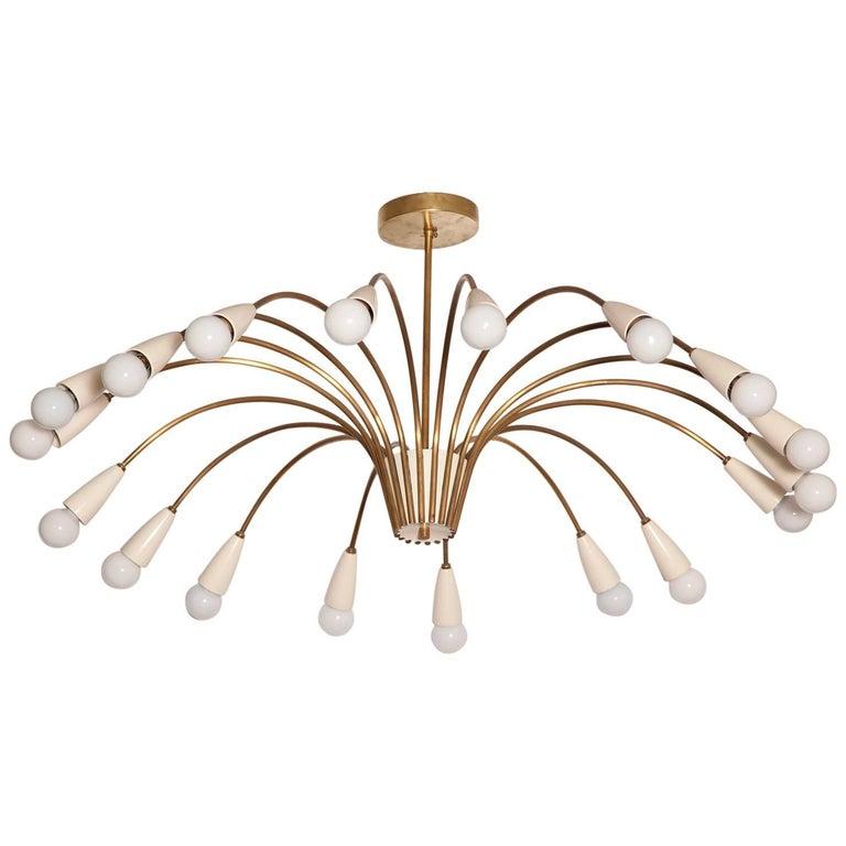 Large 18-Light 1950s Italian Brass Spider Chandelier in the Manner of Stilnovo For Sale