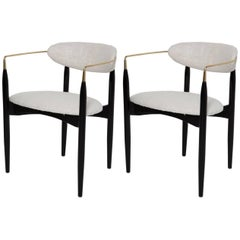 Pair of Black Lacquer and Raw Silk Viscount Chairs by Dan Johnson