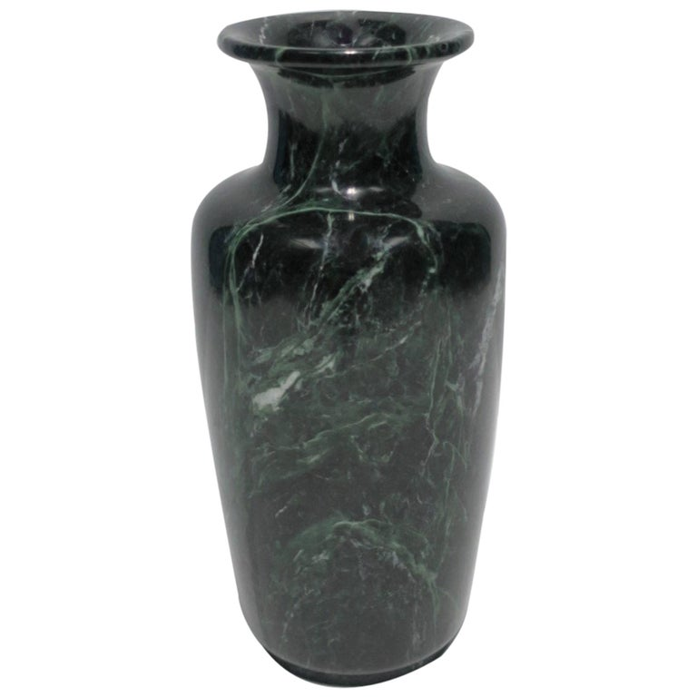 Modern Urn Form Dark Green And White Marble Vase For Sale At 1stdibs