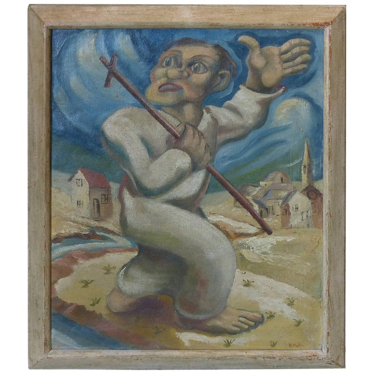1930s-1940s Latin American Oil Painting in the Manner of Diego Rivera