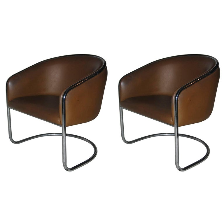 Pair of Club Tub Lounge Chairs by Joan Burgasser/Anton Lorenz for Thonet For Sale