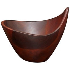 Signed M. Maury Turned Teak Bowl