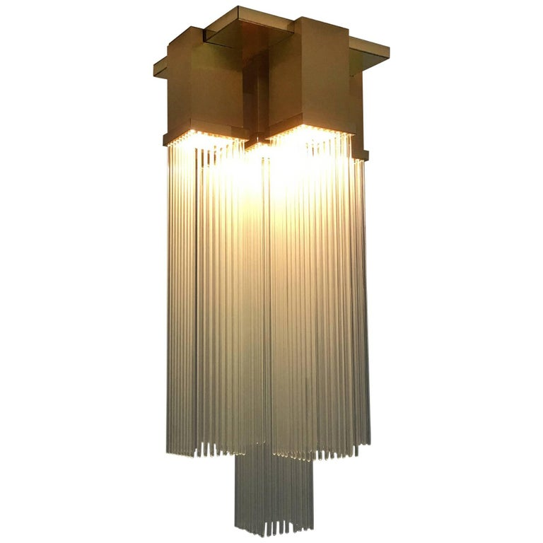 "Gaetano Sciolari for Lightolier ""Skyscraper"" Glass Rod and Brass Chandelier 1"