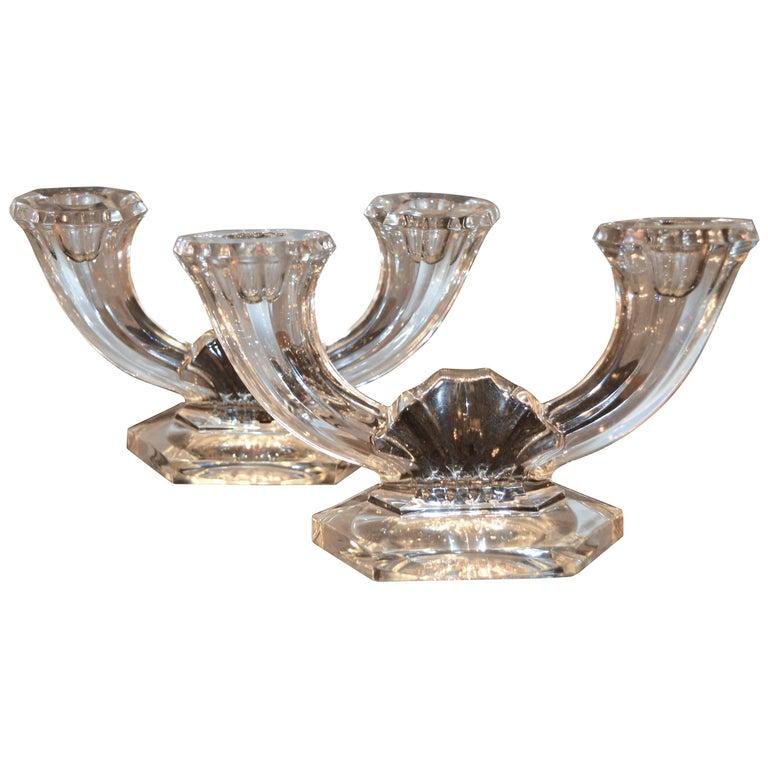 Pair of Val Saint Lambert Belgium Crystal Art Deco Double Candlesticks
