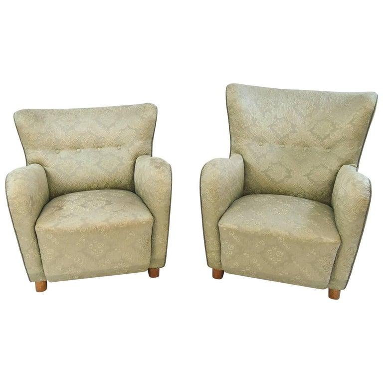 "Pair of ""His & Her's"" Fritz Hansen Danish Midcentury Easy Chairs"