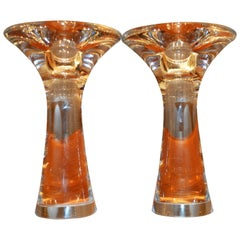 Pair of Tapio Wirkkala Handblown Clear Glass Candlesticks, Signed Iittala