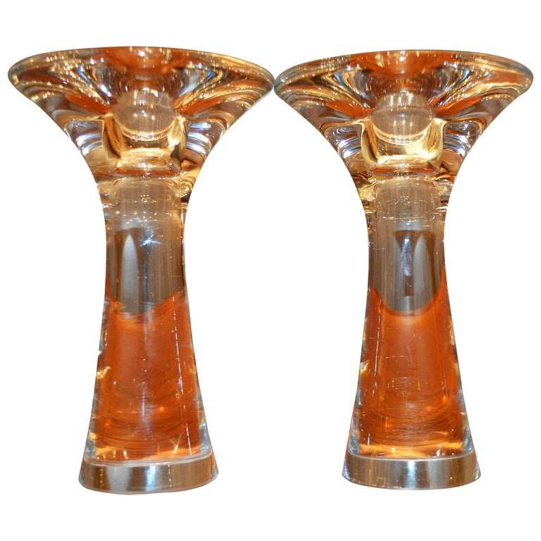 Pair of tapio wirkkala handblown clear glass candlesticks for Iittala sale
