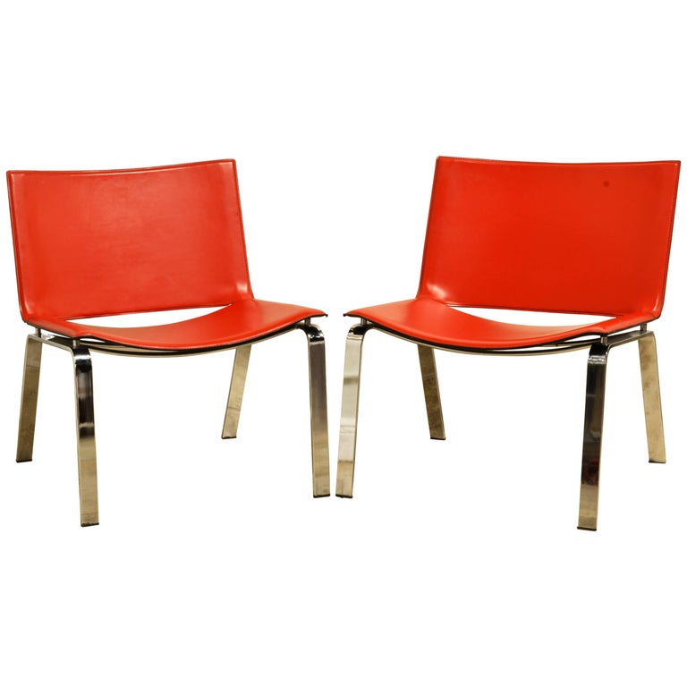 Pair of Italian Cattelan Lounge Chairs with Floating Seats on Chrome Legs For Sale