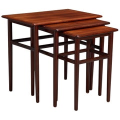 Set of Three Danish Modern Rosewood Nesting Tables