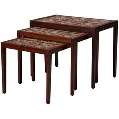 Set of Three Rosewood and Tile Danish Modern Nesting Tables