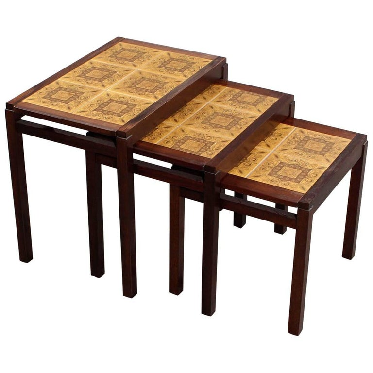 Set of Three Rosewood and Ceramic Tile Danish Modern Nesting Tables