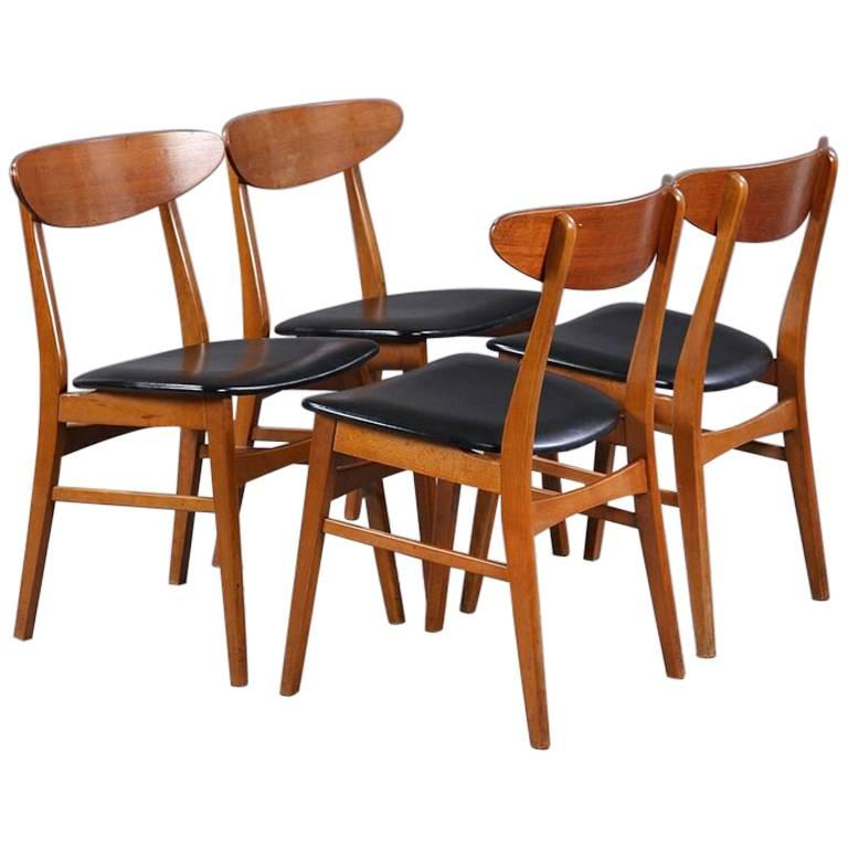 Set of Four Teak Danish Modern Dining Chairs by Farstrup