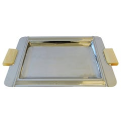 French Art Deco Chrome Serving Tray