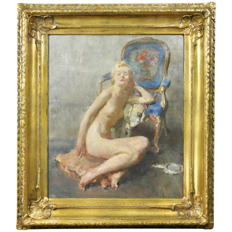 Framed Oil on Canvas of a Reclining Nude Woman