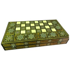 Syrian Inlaid Mosaic Backgammon and Chess Wooden Game Board/ Box
