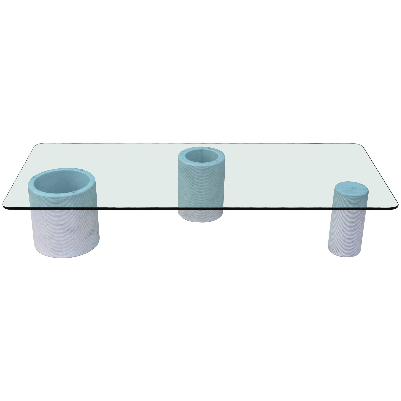 Merveilleux Modernist Carrara Marble With Glass Top Italian Coffee Table
