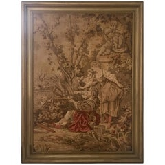 Mid=Century Belgium Aubusson Style Framed Tapestry, Signed