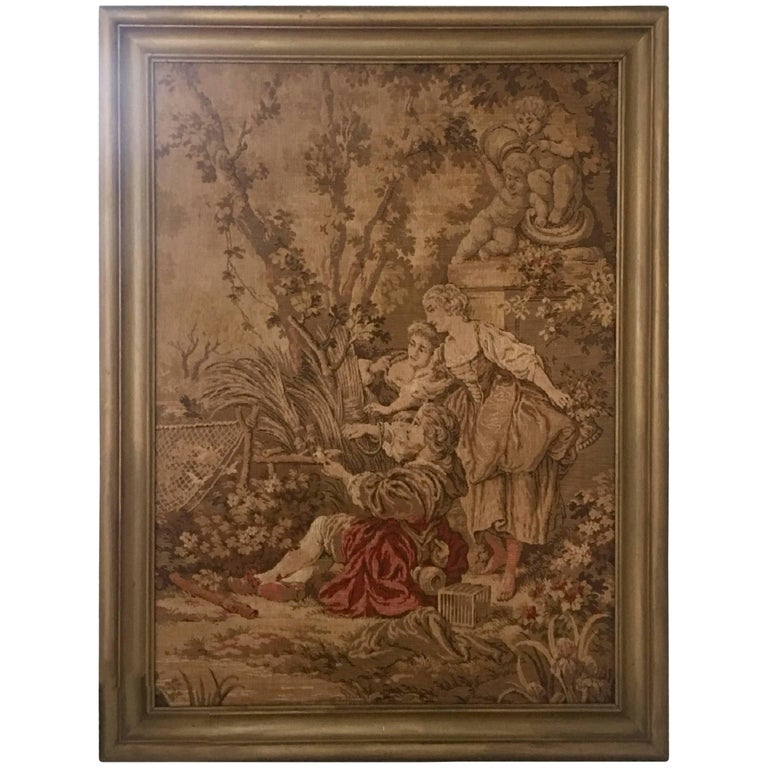 Mid-Century Belgium Aubusson Style Framed Tapestry For Sale