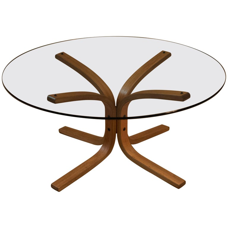 Vintage round glass and teak coffee table for sale at 1stdibs for Round glass coffee tables for sale