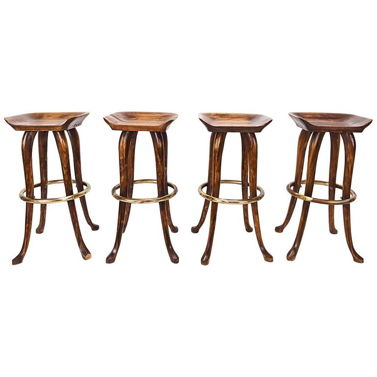 Set Of Four Counter Height Bar Stools By Jean Of Topanga