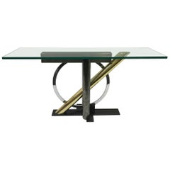 Mixed Metals and Glass Console Table by Kaizo Oto for DIA