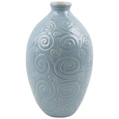 Midcentury Baby Blue Ceramic Glaze Vase by Saint Clement, 1950s