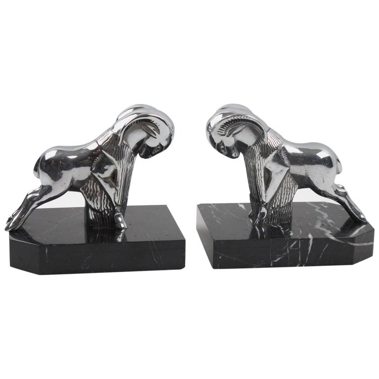 French Art Deco Chrome and Marble Ram Figural Bookends