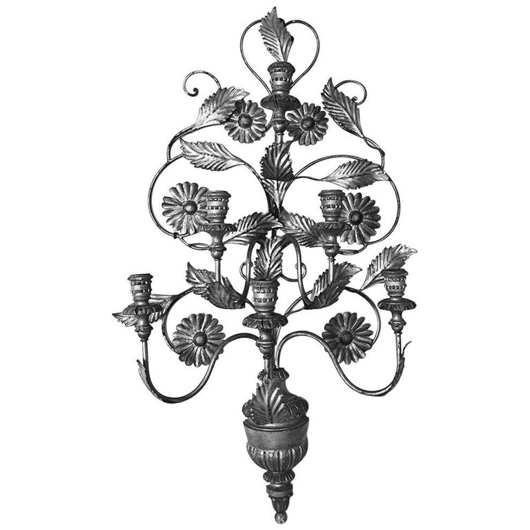Monumental Italian Mid-Century Silvered Six-Arm Tole Sconce