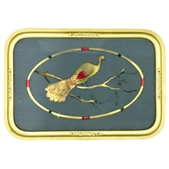 """1930'S Art Nouveau Reverse Painted Glass and Gilt Wood """"Peacock"""" Tray"""