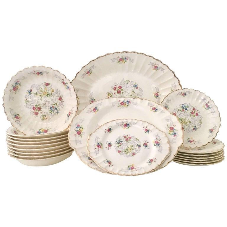 "Mid-Century American Limoges Dinnerware ""Jennie Lind"" Set/19 For Sale"