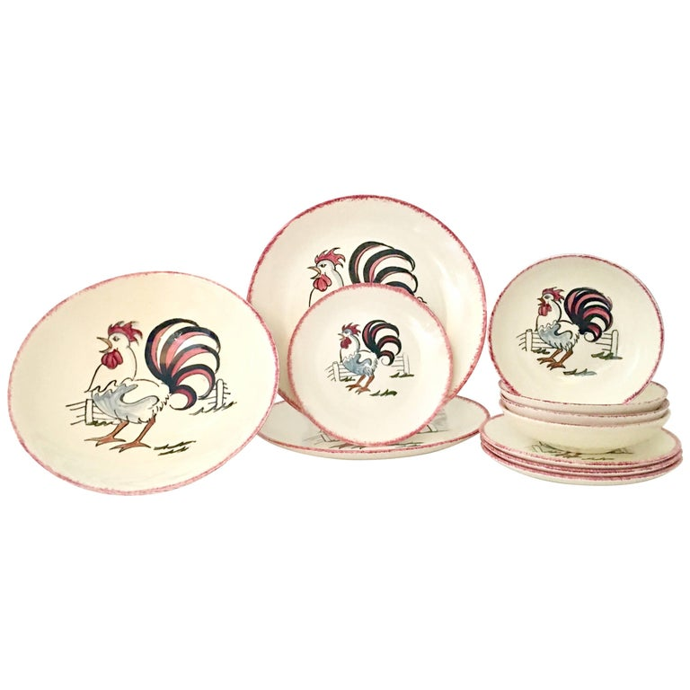 """Vintage Ceramic """"Rooster"""" Dinnerware S/11 By, Blue Ridge Southern Potteries"""