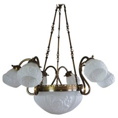 Mid-Century Brass and Frosted Glass Large Nine-Light Chandelier