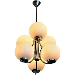 Ceiling Lamp with White Glassdomes, Italian Style