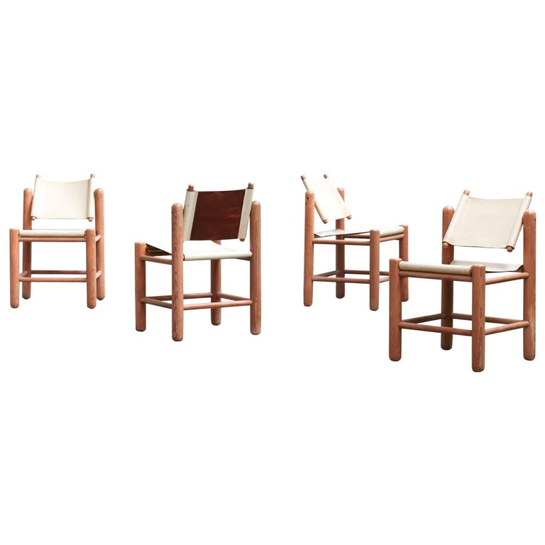 Set of Four Ash and Leather Chairs, French Midcentury 1960s, Pierre Chapo Style
